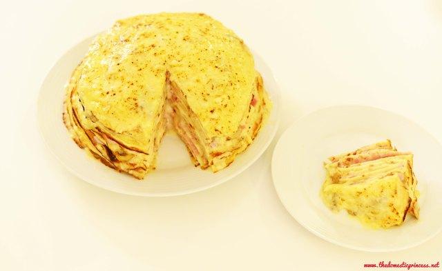 Ham & Cheese Pancake Cake